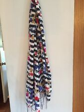 Multi Colored Blue And White Striped Floral  Print Scarf Brand New In Pkg