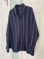 Bugatchi Uomo Dress Shirt Blue Striped Long Sleeve Mens Size Large Button Up
