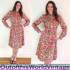 Vtg 60s 100% SILK ART NOUVEAU floral shirt dress DESIGNER PINK FLOWER POWER BIRD