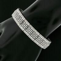 Wide 18K White Gold 2.50ct Diamond Milgrain & Open Work Line Statement Bracelet
