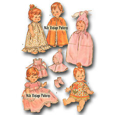 "Vtg 60s Baby Doll Clothes Pattern~ 14"" 15"" Pebbles Dy Dee Thumbelina Tiny Chatty"