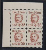1987 Sc 2196 HARTE $5 MNH plate block, UL CV $45
