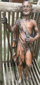 STATUE ANCIENNE EN BOIS / SAINT JEAN BAPTISTE