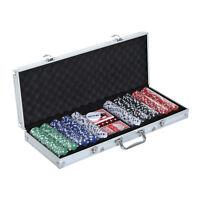 HOMCOM Poker Set 500 Piece Texas Poker Chip Set Dice Cards Casino Game Black