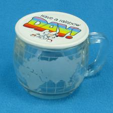 VINTAGE NESTLE GLASS GLOBE MUG WITH COASTER LID RETRO 70s COFFEE TEA LGBT CUP