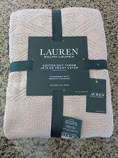 RALPH LAUREN Throw Double Diamond Cotton Knit Throw Blanket 50 x 70 inches