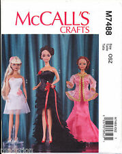 "MCCALLS SEWING PATTERN 7488 11½"" BARBIE FASHION DOLL CLOTHES - FORMAL DRESSES"