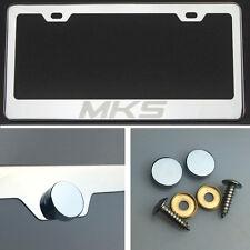MKS Laser Engraved Polish Stainless Steel License Plate Frame Chrome Screw Cap