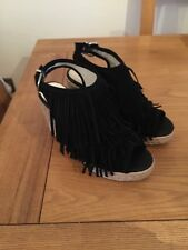 Buffalo Black Suede Fringed Slingback Peep Toed Wedged Sandals Size 37/4 RRP£49