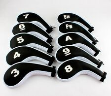 10pcs Zippered Golf Leather Iron Headcovers Head Covers Club White Black US Ship