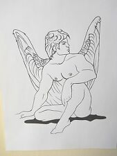 "MALE FIGURE DRAWING...""ANGEL""...9 X 12 INCHES....INK LINE DRAWING"