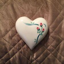 Vintage Ceramic Heart Shaped Potpourri Wall Pocket-Pink Floral Design