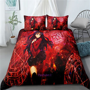 Single/Double/Queen/King Bed Doona/Duvet/Quilt Cover Set Anime Naruto Red Linen
