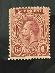St Vincent stamp GV 6d claret MNH
