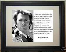 "Clint Eastwood Dirty Harry "" feel lucky"" Quote Framed & Matted Photo Picture"
