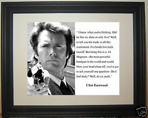"""Clint Eastwood Dirty Harry """" feel lucky"""" Quote Framed & Matted Photo Picture"""