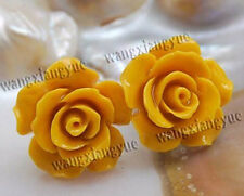 15mm Yellow Sea Coral Carved Flower Earrings Silver Stud AAA Grade