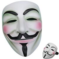 V For Vendetta Movie Costume White Mask Guy Fawkes Anonymous Halloween Cosplay