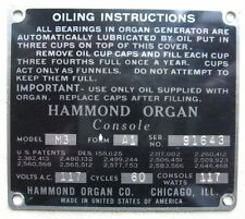 One (1) Hammond Organ M3 Model / Serial No. ID Plate Form A1 - Choice of Plate