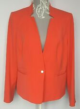 M&S Ladies Jacket UK 18 Bright Coral Blazer Single Breasted Lined Two Pockets