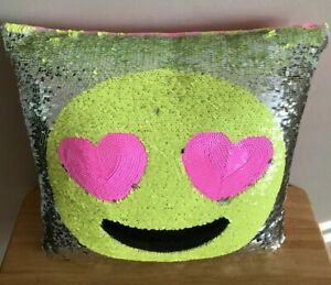 JUSTICE SEQUIN FLIP PILLOW SMILE FACE EMOJI SILVER YELLOW HEART EYES