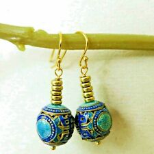 Vintage Chinese Export Cloisonne SHOU Double Happiness Earrings