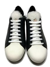 NEW, MONCLER MEN'S BLACK AND WHITE SHEARLING TONGUE SNEAKERS, 42, $795