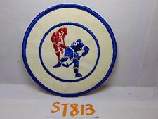 VINTAGE 1970'S EMBROIDERED PATCH CRAFT RETRO SPORT NHL HOCKEY RED & BLUE ROUND