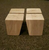 A set 4 wooden sofa feet furniture oak square legs