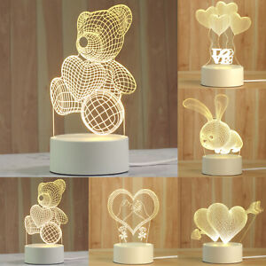 Desk 3D LED Night Light Creative Romantic Bedroom Bedside Table Decor Lamp