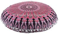 """Indian Ethnic Mandala Floor Pillow 32"""" Round Cushion Cover Throw With Insert"""