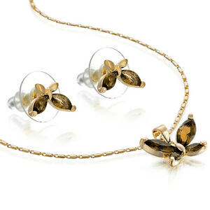 Janeo Necklace Earring Butterfly Set, 14K Gold or Silver,Luxury Budget Gift Idea