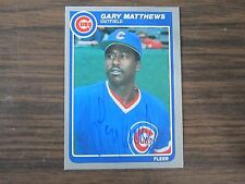 1985 Fleer # 61 Gary Matthews Autographed / Signed card (C) Chicago Cubs