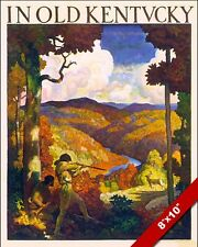 VINTAGE HUNTING IN OLD KENTUCKY VACATION TRAVEL AD POSTER ART REAL CANVAS PRINT