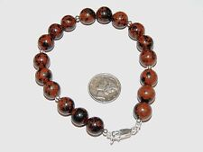 """Sterling Silver and 10mm Mahogany Obsidian Bracelet 8 1/4 """" (7886)"""