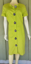BIGIO COLLECTION Lime Green Button Front Dress 12 Cotton
