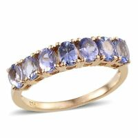 "AA Tanzanite 7 Stone ""Half Eternity""Band Ring. 925 Sterling Silver. Gold Overlay"