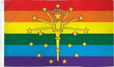 Indiana Rainbow Flag 3x5 ft Gay Lesbian LGBT LGBTQ Pride Banner IN State