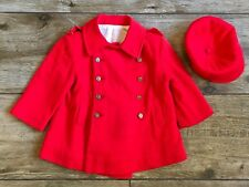 Vintage Original Kute Kiddies Classic RED Coat & Hat Kennedy Era 12