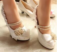 Decolté decolte scarpe donna ballerina bianco perle sposa 3.5, 4.5 8 11 9360
