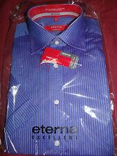 ETERNA EXCELLENT (REDLINE) ELEGANT BLUE/PINK SWISS COTTON S/S SHIRT UK 15 EU 38