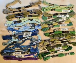 Bundle of part used embroidery threads, mainly Anchor. Blues/greens. Lot 9/10