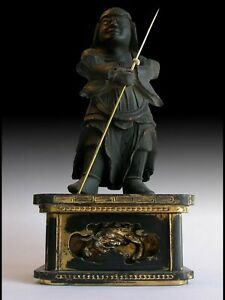 Antique Muromachi Japanese Carved Vaishravana Tamonten Shitenno Wood Statue 多聞天