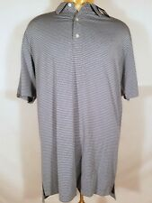 New Dunning Golf Striped Polo Shirt Fragmented Beach Glass Blue Large L NWT