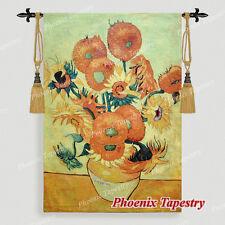 "SMALL Van Gogh Sunflowers Fine Art Tapestry Wall Hanging, 35""x27"", UK"
