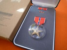US BRONZE STAR MEDAL WITH BRONZE V FOR VALOR EMBLEM - BOXED  SET WITH OUTER BOX