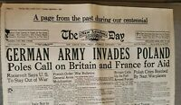 1939--GERMAN ARMY INVADES POLAND--Reproduction (WWII ) Newspaper