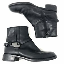 ECCO Hobart Women's Ankle Black Leather Booties Harness Boots EU 37 US 6 - 6 1/2