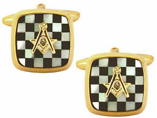 Gold Plated Onyx & Mother of Pearl Masonic Chequered Embossed Cufflinks 902890