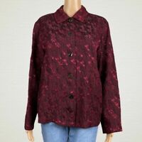 Coldwater Creek Textured Sparkle Print Button Up Shirt Jacket MEDIUM Red Black